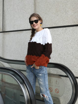 O-Neck Contrast Pullover Sweater