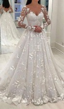 White V-Neck Long Sleeve Wedding Bridal Dress