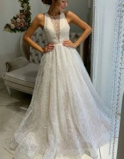 White Sleeveless Wedding Bridal Dress