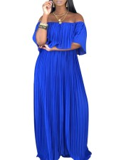 Off Shoulder Overlay Pleated Maxi Dress
