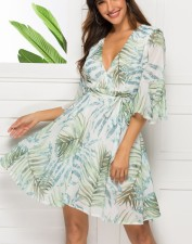 Print A-Line Wrap Dress with Wide Sleeves