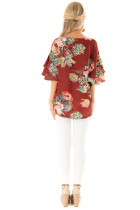 Casual O-Neck Floral Blouse with Wide Sleeves