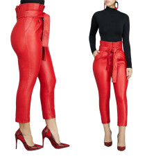 Sexy High Waist PU Leather Trousers with Belt