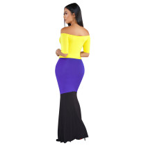 Occassional Off Shoulder Contrast Long Dress