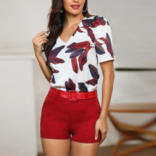 White and Red Print Shorts Set with Belt