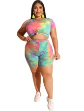 Plus Size Colorful Print Shirt and Shorts