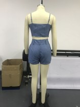 Blue Straps Crop Top and Shorts Set