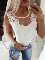 Cut Out Applique Flower Sleeveless Bodysuit