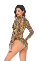 Leopard Print Long Sleeve Bodysuit