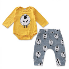 Baby Boy Print Long Sleeve Rompers and Pants