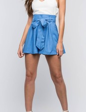 Casual Fit-and-Flare High Waist Shorts with Belt