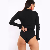 Plain Solid High Neck Long Sleeve Bodysuit