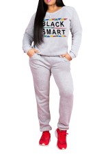Print Long Sleeve O-Neck Sweatsuit