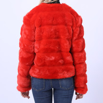 Red Plaid Short Fur Coat with Pockets