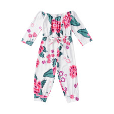 Kindermeisje bloemenprint off shoulder jumpsuit met lange mouwen