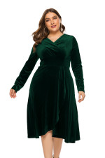 Plus Size Long Sleeve Velvet Wrap Dress