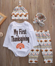 Baby Boy Print Thanksgiving 4 PCS Suit