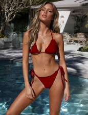 Sexy Red Ruffles Brazilian Swimwear