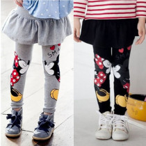 Kids Girl Cartoon Print Leggings with Mini Skirt