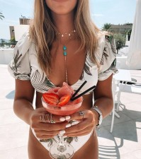 Sexy Print Short Sleeves Swimwear
