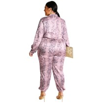Plus Size Snake Skin Print Long Sleeve Zipper Jumpsuit