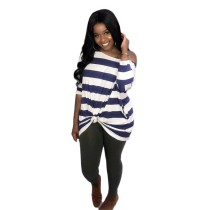 Wide Stripes O-Neck Long Loose Shirt