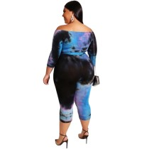 Plus Size Off Shoulde Colorful Bodycon Rompers with Belt