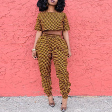 African Print Short Sleeve Crop Top and Pants