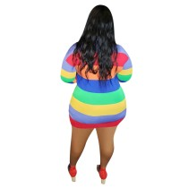 Plus Size Stripes Colorful Long Sleeve Bodycon Dress