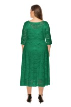 Plus Size O-Neck A-line Lace Mature Dress