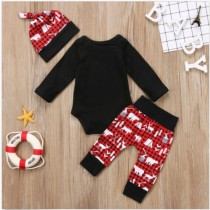 Baby Boy Christmas Print 3 PCS Pants Set