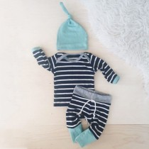 Baby Boy Stripes Print Autumn 3 PCS Pants Set