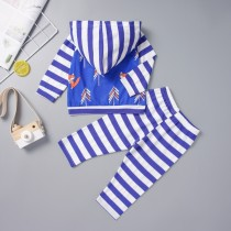 Kids Boy Stripes Print Hoody Sweatsuit
