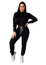 Plain Solid Round Neck Long Sleeve Sweat Suit