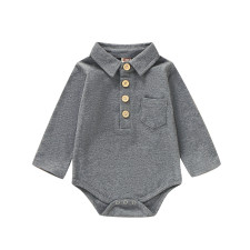 Baby Boy Plain Solid Onesie Rompers with Collar