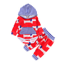 Baby Boy Print Hoody Rompers and Pants Set