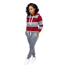Casual Contrast Long Sleeve Hoody Sweat Suit