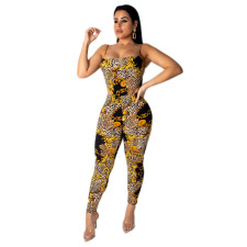 Bodycon jumpsuit in goud en zwart met print