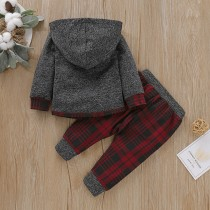 Kids Boy Plaid Hoody Sweat Suit