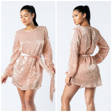 Sequins O Neck Shirt Dress with Belt