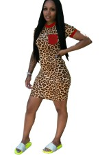 Leopard Print Tight Shirt Dress