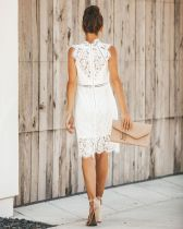 White Lace Sleeveless Party Dress