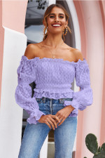 Crop-top met ruches en off-shoulder mouwen