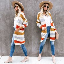 Wide Stripes Long Sweater Coat with Pockets