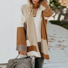Street Style Contrast Sweater Coat