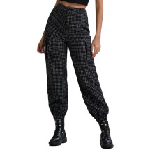 Black Plaid Casual Trousers