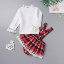 Baby Girl White Shirt and Red Plaid Bib Skirt
