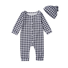 Baby Boy Plaid Print Rompers with Hat