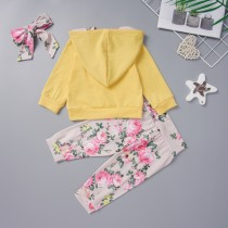 Kids Girl 3 Piece Floral Hoody Sweat Suit