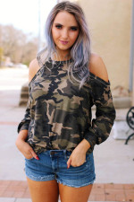 Camou Print Cut Out Casual Fall Shirt